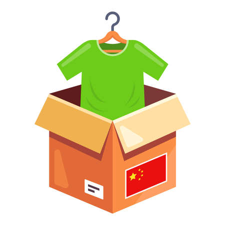 order clothes from china. delivery of a parcel with clothes to the house. flat vector illustration.