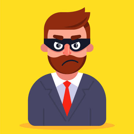 a fraudster in a business suit and a mask hiding his face. flat vector illustration. 向量圖像