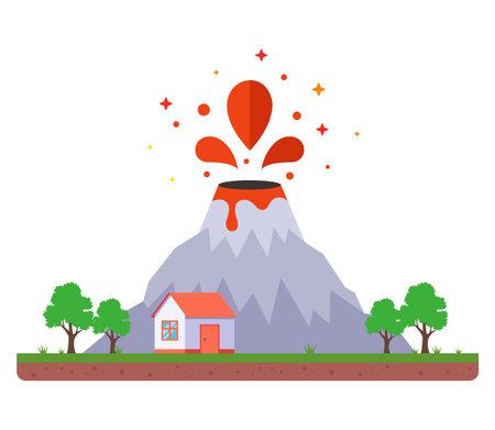 volcanic eruption dangerously close to home. flat vector illustration. 向量圖像