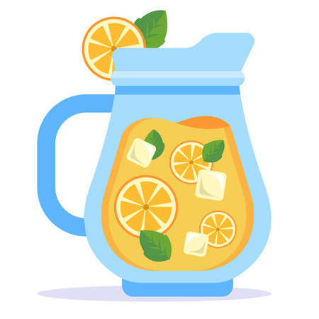 glass decanter with cold lemonade. flat vector illustration.