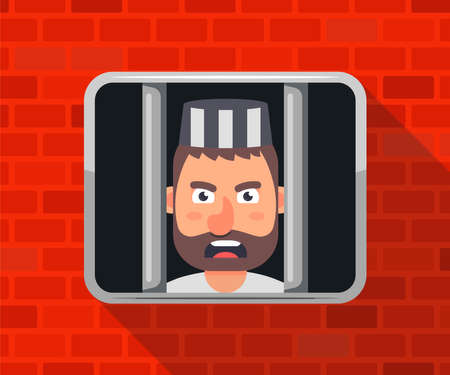 the criminal is sitting in jail and looking out the window. flat vector illustration. 向量圖像