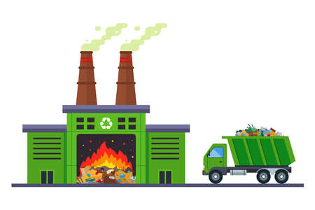garbage truck goes to incinerate waste at an incineration plant. flat vector illustration. 向量圖像