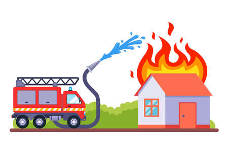 a fire brigade came to extinguish the fire. the burning house is extinguished with water. flat vector illustration. 向量圖像
