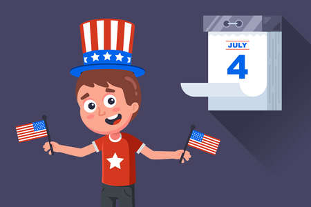 american patriot celebrates independence day in the united states. flat vector character illustration.
