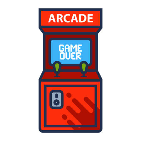 arcade machine icon with game over screen. flat vector illustration. 向量圖像