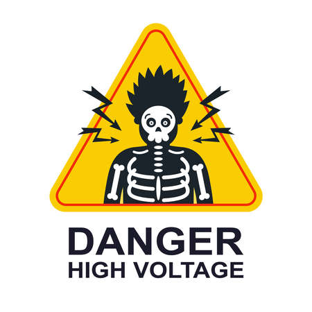 yellow sticker caution high voltage. electric shock by a person. flat vector illustration.