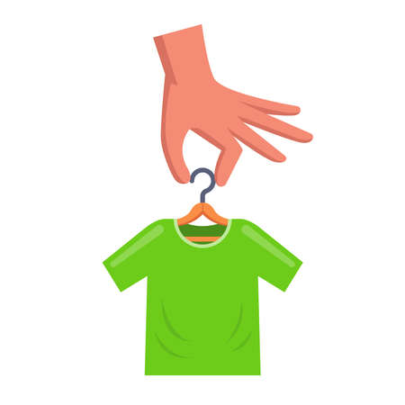 man is holding a hanger with a green t-shirt. flat vector illustration.