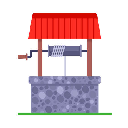 old rustic stone well. flat vector illustration.