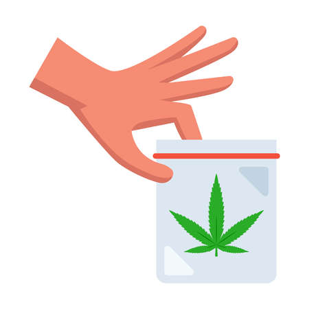 man holds a packet of marijuana in his hand. flat vector illustration. 向量圖像