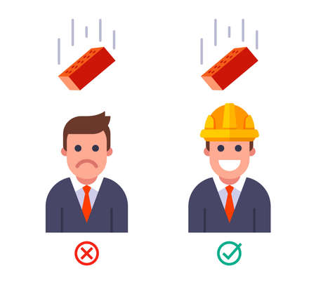 falling brick on a person with and without a helmet. safety engineering at the top. flat vector illustration 向量圖像