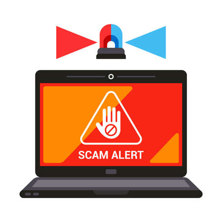 warning on laptop screen scam alert. flat vector illustration.