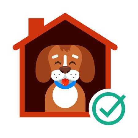 take a dog from the shelter to his home. happy dog in the booth. flat vector illustration. 向量圖像