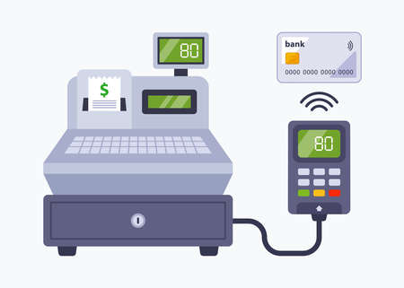 payment in the store using a bank card. contactless payment through a cash register in a supermarket. flat vector illustration. 向量圖像