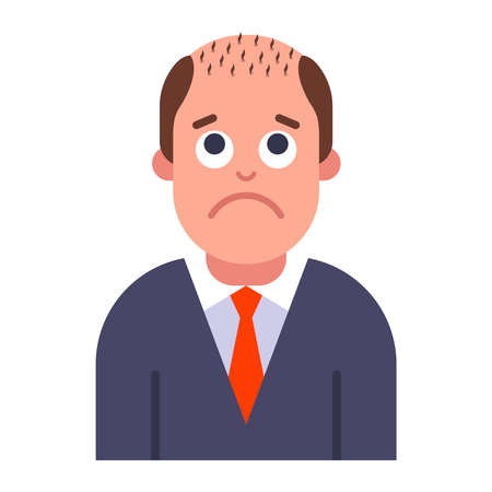 a problem with male pattern baldness. hair loss on the head. flat vector illustration.