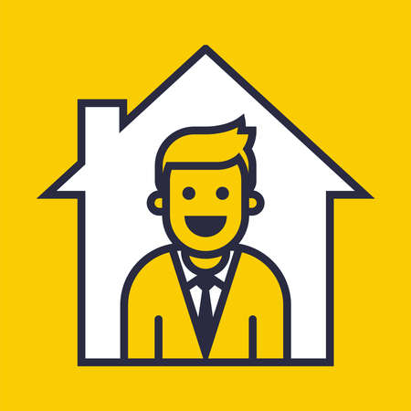 icon of a person who is at home. flat vector illustration.