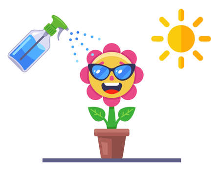 take care of the flower. joyful plant in a pot. flat vector illustration.