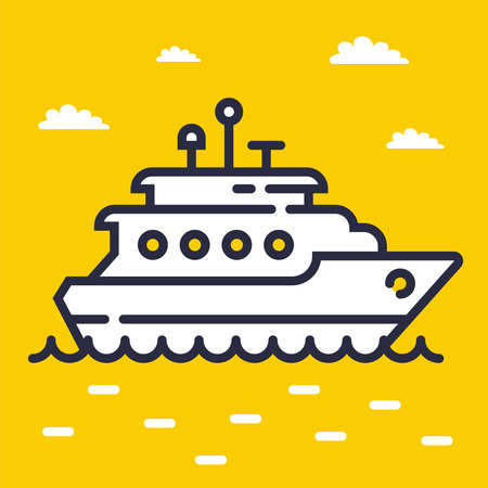 yacht icon on the sea on a yellow background. flat vector illustration Ilustração