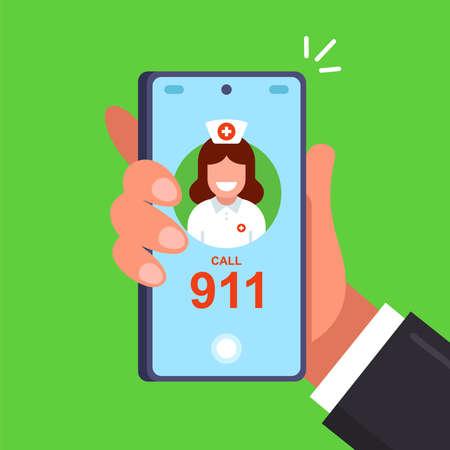 call 911 to call a doctor. flat vector illustration. Ilustração