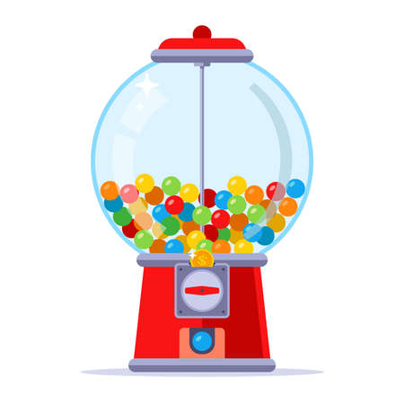 buy chewing gum for a coin in the machine. flat vector illustration. Ilustração
