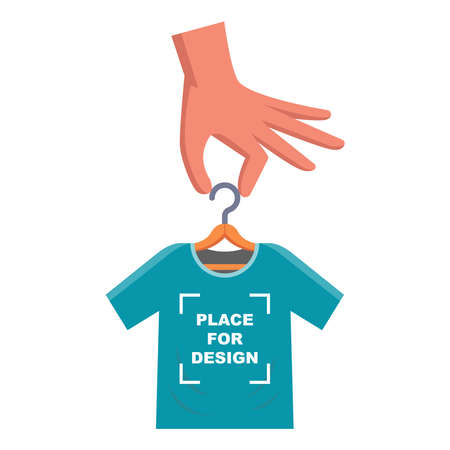 put your designs on a t-shirt. create your own merch on the t-shirt. flat vector illustration.