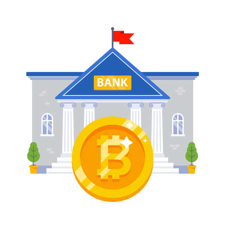 bank building with a large gold bitcoin coin. flat vector illustration.