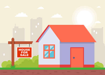 sign indicating the sale of the house. flat vector illustration.