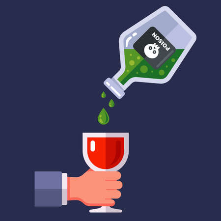 pour poison into a glass of wine. secret murder of a person by poisoning. flat vector illustration.