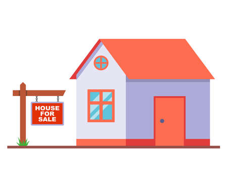 wooden sign for the sale of a house. ads from the owner of the house. flat vector illustration.