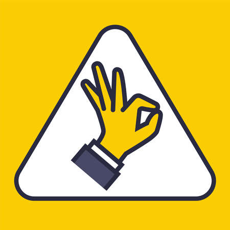 yellow sign in triangles showing by hand everything is ok. flat vector illustration. Ilustração