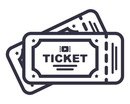 two cinema tickets icon. flat vector illustration