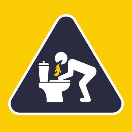 triangular sign to vomit in the toilet. flat vector illustration.