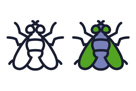 color and black and white icon of a house fly. flat vector illustration. Ilustração