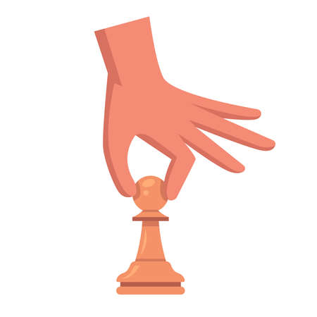 hand with a pawn. make a move on the chessboard. flat vector illustration.
