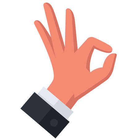 gesture with your hand and show approx. all right. flat vector illustration. Ilustração
