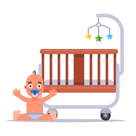 baby wooden crib for a newborn toddler. flat vector illustration.