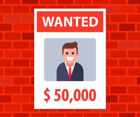 a poster with an advertisement for the wanted young man. reward for information about the lost man. flat vector illustration.