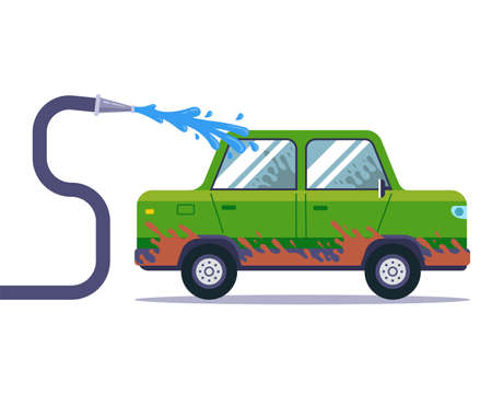 wash a very dirty car with a hose. flat vector illustration.