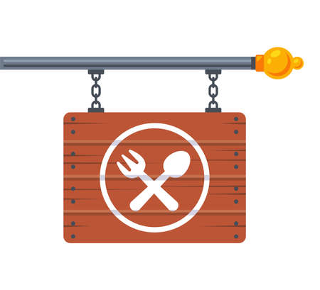 hanging wooden signboard with fork and spoon icon. advertising cafe. flat vector illustration. Ilustração
