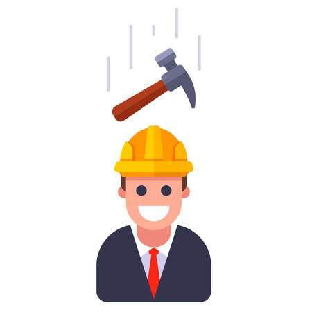 a hammer falling on a person in a helmet. flat vector illustration.
