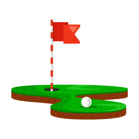 hole and golf ball on a green lawn. flat vector illustration.