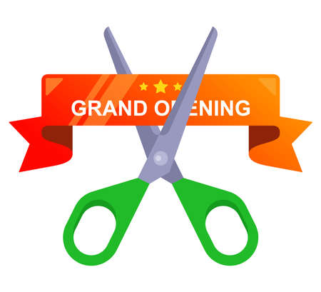 cut the red ribbon with scissors. grand opening of the enterprise. flat vector illustration.