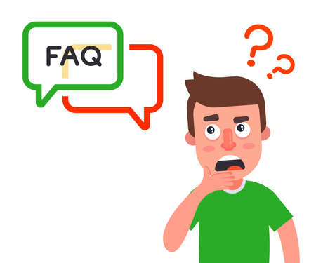 a person asks a question and waits for an answer on the site. frequently asked Questions. flat vector illustration.