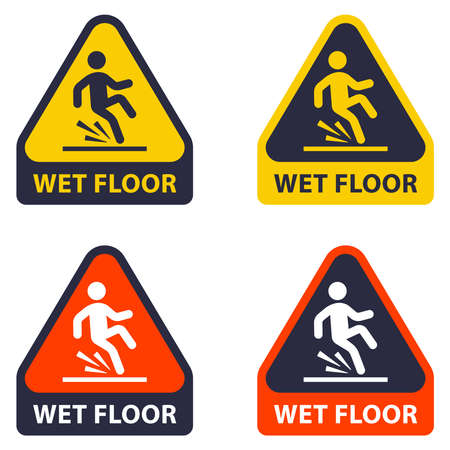 gently wet floor. falling of a person due to a wet floor. flat vector illustration.