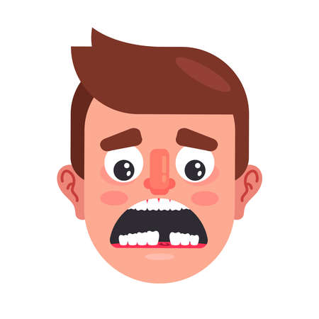 lack of a tooth in a man mouth. the need for tooth implantation. flat vector illustration.