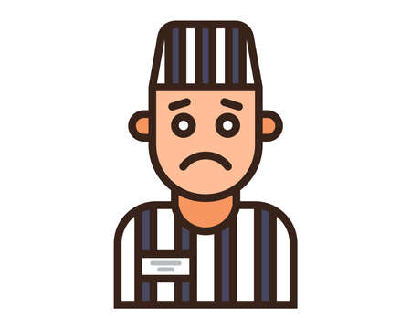 color icon of a prisoner in a striped uniform. Flat character vector illustration. Vetores