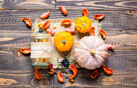 mini jack: Halloween pumpkins, spiders and various objects on wooden background