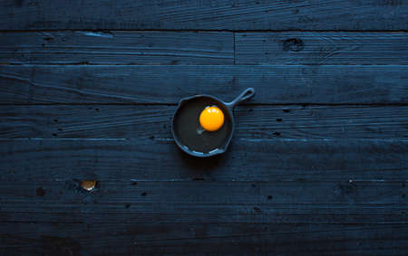 Chicken egg on a dark wooden background, free space for text. Top view