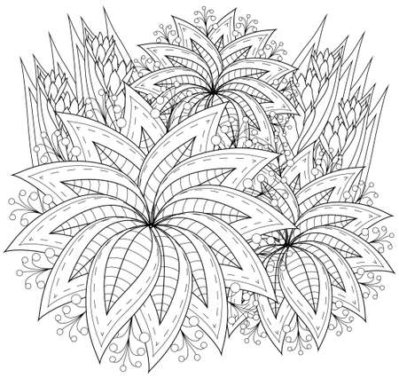 doodling: Coloring book page for adults and kids in doodle style, Vector artwork; Good for art therapy, zentangle-style meditation and design of wrapping and textile.