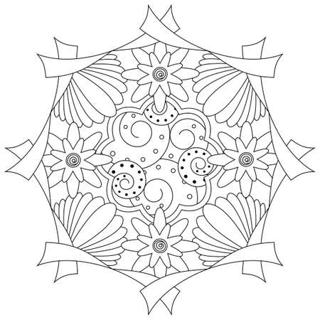 Coloring book page for adults and kids in doodle style, Vector artwork; Good for art therapy, zentangle-style meditation and design of wrapping and textile.