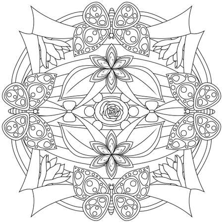 doodling: Coloring book page for adults and kids in doodle style. Vector artwork. Good for art therapy, zentangle-style meditation and design of wrapping and textile.